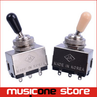 Wholesale Toggle Switch Tip - Chrome 3 Way Toggle Switch for Electric Guitar with Black and Cream Tip Free shipping MU0217