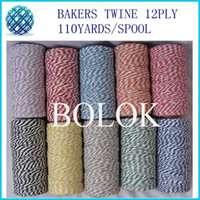 Wholesale Rope Spools - 5pcs lot Cotton Bakers twine 12ply 1.5mm 110yards spool twisted cotton packing rope, DIY Twine 29 kinds color by free shipping