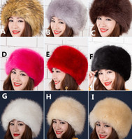 Wholesale Grey Fox Fur Warm - The Fox Fur Snow Cap 50-60cm Fashion Warm Winter Hat The Dome Men and Women, ePacket FREE SHIPPING