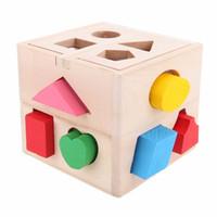 agujero de juguete al por mayor-13 Agujeros Baby Color Recognition Intelligence Toys Ladrillos Clasificador de Forma de Madera Cubo Bloques Cognitivos y Coincidentes para Niños