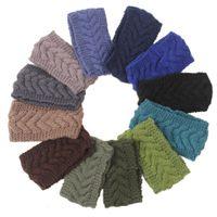 Wholesale Headbands Dark Brown Hair - Handmade Women's Fashion Wool Crochet Headband Knit winter 24 color Hair band Flower Winter Ear Warmer headbands for women D686J