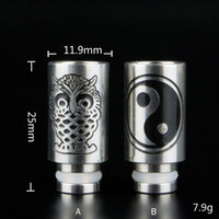 Electronic Cigarette owl study - Hot Selling Carving Owl Yi studies Stainless steel Drip Tips wide bore Drip Tip for EGO E Cig Tanks Protank Atomizer Mouthpieces