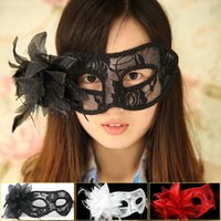Wholesale Latex Venetian Mask - Protagonist cosplay party Venetian mask masquerade men and women feather lace white half face mask dance