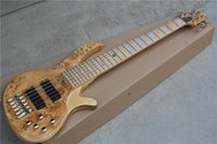 Wholesale Guitar Bass Maple - Hot Sale 6-String Electric Bass Guitar with Maple Fretboard and Burl Lines Veneer,Can be Changed