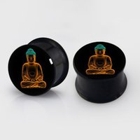 Wholesale black ear gauges for sale - Group buy mm mm buddha plugs steel anodized black ear plug gauges flesh tunnel ear expander BDP016