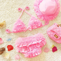 Wholesale Child Pink Swimsuit - Girls Swimming Wear Kid Bikini Summer Fashon Style Princess Bathing Suits Sweet Lace Children Girls Bikini Spandex Baby Girl Swimsuit