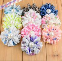 Wholesale Diy Pearl Tiara - 10pcs Lace flowers with Pearls DIY headband Flowers headband baby girl Hair headband Accessories