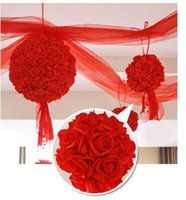 Wholesale chinese markets for sale - Group buy Wedding silk Kissing Ball Inch flower ball decorative flower artificial flower for wedding garden market decoration