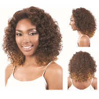 Wholesale Ombre U Part Wigs - Excellent quality medium long ombre synthetic u part kinky curly wig for africa american black women
