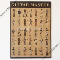 posters guitarras al por mayor-El maestro de la guitarra Frank Zappa, George Harrison, slash, jimi Hendrix Vintage Home Decoración de la pared Poster 21x15 Inch (53 * 38cm) Póster de papel