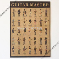 Wholesale Guitar Graphics - Guitar Master Frank Zappa,george Harrison,slash,jimi Hendrix Vintage Home Wall Decoration Poster 21x15 Inch(53*38cm)paper Poster