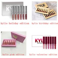 embalaje cosmético al por menor al por mayor-2017 Maquillaje Kylie Jenner Lipgloss Cosméticos Mate Lipstick Lip gloss Mini Leo Kit Lip Birthday Edición Limitada con embalaje de oro al por menor