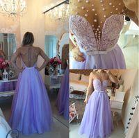 robes de soirée mauves achat en gros de-2018 bijou manches courtes robes de bal violet clair dentelle perles bouton dos longueur au sol réel une ligne pure cou robes de soirée robes