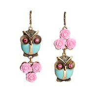 Wholesale Cute Fashion Pink Flowers Owl Long Earrings Women Costume Jewelry Factory