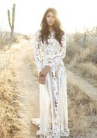 beyaz düz elbise stilleri toptan satış-Büyüleyici Beyaz Uzun Gelinlik Modelleri Yüksek See Through Uzun Kollu Düz Kat Uzunluk Stil Ve Dantel Malzeme Ile Düğün Akşam