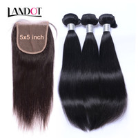 Wholesale light brown remy hair weave - 5x5 Lace Closures With 3 Bundles Unprocessed Virgin Brazilian Peruvian Malaysian Indian Straight Remy Human Hair Weaves Mink Hair Extensions