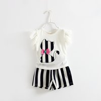 Wholesale Cat Zebra - Summer girl t-shirt+short pant set 2 pieces 100% cotton children short sleeve cat stripe clothes suit 4s l