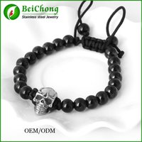 Wholesale Stainless 8mm Beads - BC Fashion Man Skull Jewelry 8mm Black Bead Northskull Handmade Woven Bracelet Bangles Free Shipping BC-217