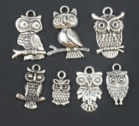 Wholesale Owls Necklace Jewelry - 3D Bird Owl Charms Pendants Fashion 100pcs lot 7styles Tibetan Silver Fit Bracelets Necklace Earrings Jewelry DIY
