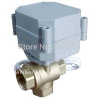 Wholesale Ball Valve 24v - DN25 1'' 3Ways DC12 24V brass ball valves motorised flow control valves