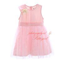 pembe elbiseli bebek kızı toptan satış-Yaz 100% Pamuk Kız Katı Örgü Elbiseler Kanat Ile Şık Pembe Çocuklar Çiçek Elbise Toptan Bebek GD50309-21 Giymek