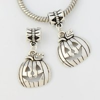 Wholesale Pumpkin Food - Halloween Pumpkins Mask Big Hole Beads 100pcs lot Antique Silver Dangle Fit European Charm Bracelets B1098 29.8x15.8mm