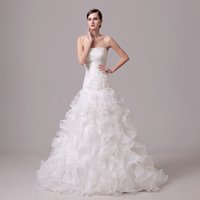 Wholesale Latest Skirt - 2016 Latest In Stock Strapless Organza Mermaid Wedding Dresses Appliques Beaded Floor-length Lace up Back Ruffles Church Bridal Dresses Gown