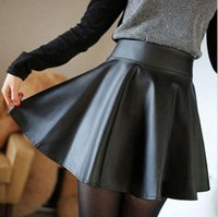 Wholesale Leather Flared Mini Skirt - Women Faux Leather High Waist Skater Flared Pleated Short Mini Skirt Suzie B5001