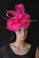 Wholesale hot pink wedding hat - Hot pink kentucky derby Sinamay Fascinator with feathers for Melbourne cup,Ascot races wedding.