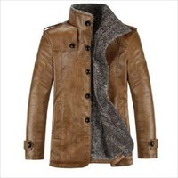 Wholesale Mens Fur Collar Top Coat - Mens Winter Fur Stand Collar Thickening&Wool Windbreak Top Leather Jackets Men's Lether Coat Jaqueta De Couro M-3XL free shipping