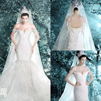 Wholesale Dress Off Veil - New Luxury Micheal Cinco Vintage Wedding Dresses Off The Shoulder Garden Mermaid Lace Applique Pearls Bridal Gowns With Veil DL1314214