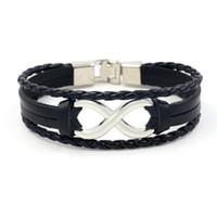 Wholesale diamond braid bracelet - New Men's Charm Bracelets 8 Word Leather Bracelet Lucky Cowhide Bangle Stainless Steel Infinity Symbol Braided wristband