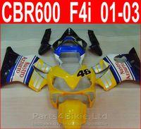 Wholesale Honda Nastro - nastro 46 yellow bodykits Design for Honda CBR600 F4i fairing kit 2001 2002 2003 CBR F4i cbr600f4i fairings RNIC