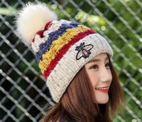 Wholesale Knitted Hats Big Ball - Free Shipping Winter new lady plus cashmere warm hat Korean bee wool hat big hair ball color bar knit hat wholesale
