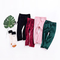 Wholesale Toddler Girls Cargo Pants - Everweekend Toddler Ins Baby Girls Velvet Candy Color Leggings Pants Cute Fashion Infant Kids Pink Green Red Spring Autumn Pants