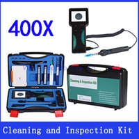 Wholesale Optics Cleaning Kit - Wholesale-Fiber optic Cleaning and Inspection Kit Suit-400 with 400x Magnification microscope Clean Box  Clean Pen  Visual Fault Locator