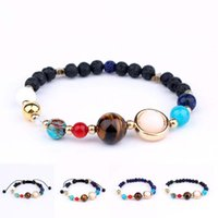 Wholesale Easter Solar - Universe Galaxy Eight Planets Bead Bracelet Solar System Moon Star Natural Stone Strands Bangle Wrtistgband for Women Jewelry Drop Shipping