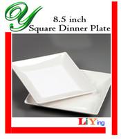 Wholesale Square Melamine - Melamine dinner plates dishes outdoor picnic dinnerware wedding buffet serving tray 8.5 inch white square sushi salad dessert plastic plates