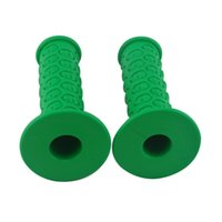 Wholesale Motorcycle Grips Skull - green skull Motorcycle Handlebar Soft Rubber Hand Grips Flame 7 8'' Free Shipping