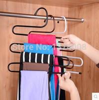 Wholesale Hanging Metal Shelves - 1pc New Fashion Multilayer S-Shaped Hanging Pants Metal Rack Multi-Functional Trouser Wardrobe Finishing Slip Trouser Racks Hook