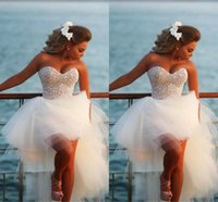 Без бретелек Изысканный Жемчужина Hi-Lo Short Beach Wedding Dresses 2017 Casomento Sexy Corset Beaded Sweetheart High Low Bridal Gowns