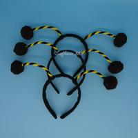 Wholesale Headband Ladybug - Black Ant Bug Ladybird Ladybug Alien Antenna Ball Head Headband One Size