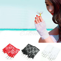Wholesale Ladies White Gloves Wholesale - Wholesale-New Goth Party Sexy Dressy Women Lady Lace Gloves Mittens for Accessories Fingerless Black White red