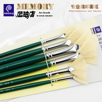 Wholesale Paintbrush Bristles - Wholesale-Value Pack Memory Bristle Fan Paintbrush for Oil Painting Gouache Painting 1 set 6pcs brushes Art Supplies