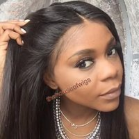 Wholesale Medium Long Black Wigs - 360 full lace wigs human hair 360 Lace Wig pre plucked With baby hair bleached knots Natural looking