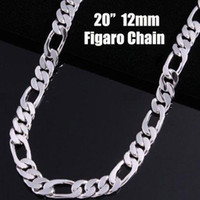 серебряный фигаро оптовых-Lostpiece 2017 новый модный мужской стерлингового серебра 925 ожерелье Фигаро цепи 12 мм 20