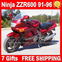 Wholesale 93 Kawasaki Ninja Fairings - 7gifts Dark red For KAWASAKI NINJA ZZR600 91-96 ZZR-600 ZZR 600 ZX636 91 92 93 94 95 96 ALL Glossy red 1991 1992 1993 1994 1995 1996 Fairing