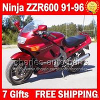 Wholesale Ninja Red - 7gifts Dark red For KAWASAKI NINJA ZZR600 91-96 ZZR-600 ZZR 600 ZX636 91 92 93 94 95 96 ALL Glossy red 1991 1992 1993 1994 1995 1996 Fairing
