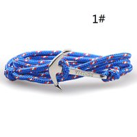 Wholesale Anchor Hook Bracelet - 2015 Fashion Jewelry Silver Alloy Anchor hooks Bracelet Men Leather Risers Bracelet for Women&Men friendship bracelets