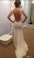 Wholesale Transparent Bodice Wedding Dress - 2017 Elegant Sheer Back Dress Mermaid Wedding Dresses Transparent Big Open Back Court Train Celebrity Dresses Bridal Gowns New Hot Sale